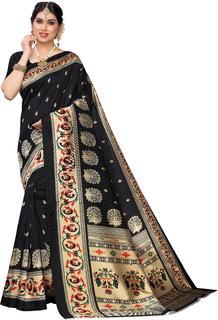 Meia Black Art Silk Printed Saree