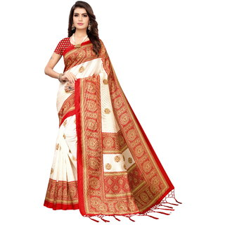 Meia Red Art Silk Printed Bordered Saree With Blouse