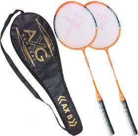 AXG New Goal Unstoppable Badminton Racquets Set of 2 (Orange)