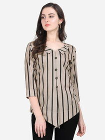Anaita Women Grey Striped Asymmetrical Top