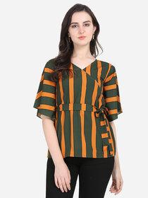 Anaita Women Green Striped Wrap Top