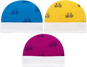 Neska Moda Baby Boys And Girls Pack Of 3 Cotton Caps For 3 To 6 Months (Pink,Blue,Yellow) - KC185
