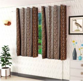 DealsDen Set of 2 Window Semi-Transparent Ring Rod Polyester Curtains Brown