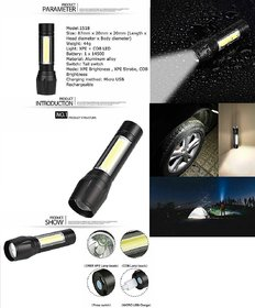 Martand 3in1 Water-resistant Emergency  LED Torch Light USB Charge Zoomable LED Torch