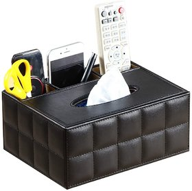 simrann leather Pen Pencil Remote Control Tissue Box Cover Holder Desk Storage Box Container for Home and Office Use