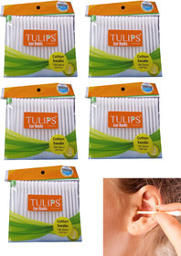 Tulips Cotton Ear Buds/Swabs (Pack of 5) 100 Pure  Soft Cotton  (5 Units) 100 buds piece x 5 pack