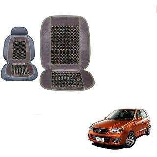 Kozdiko Wooden Bead Seat with Grey Velvet Border Set of 1 pcsFor Maruti Suzuki Alto K10