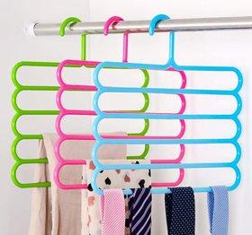 Mugdha Enterprise 5 Layer Clothes Hanger Wardrobe Storage Organizer , (Set of 1 )(Multicolored)