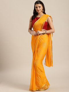 Meia Yellow Party Chiffon Woven Border Saree With Unstitched Blouse