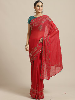 Meia Red Casual Chiffon Embellished Saree With Unstitched Blouse