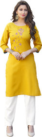 Anaita Women's Yellow Embroidered Kurtis