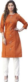 Anaita Women's Orange Embroidered Kurtis
