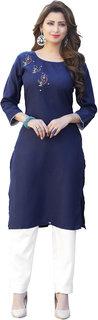 Anaita Women's Blue Embroidered Kurtis