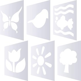WhittlewudPack of 6 Chalk Stencil Set, Natural Theme Pattern Plastic Stencil Templates for Kids Painting Art Crafts