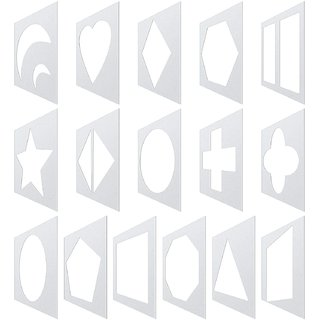 Whittlewud pack of 16,  Chalk Stencil Set Geometric Shapes Reusable Chalk Painting Stencils Plastic Drawing Stencil Tem