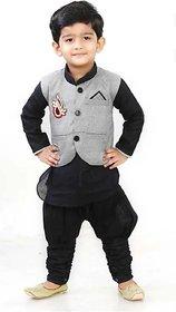 Boys Black Kurta Payjama Set With Gery Waistcoat by SBN