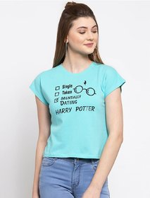 Elizy Women Sky Blue Harry Potter Printed Crop Top
