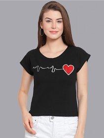 Elizy Women Black Heart Beat Printed Crop Top