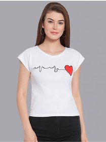 Elizy Women White Heart Beat Printed Crop Top