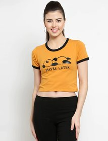 Elizy Women Mustured MayBe Later Printed Crop Top