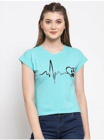 Elizy Women Sky Blue Heart Beat Printed Crop Top