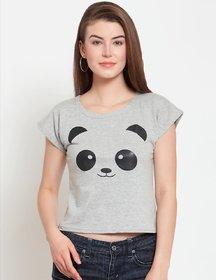 Elizy Women Grey Smiley Panda Face Printed Crop Top