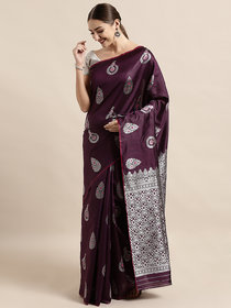 Vastranand Purple Silk Blend Woven Design Banarasi Saree