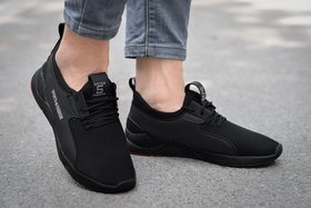 Spain black smart Lace up casual sports shoes for men's