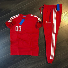 Trendyz Poly cotton Red Striped Tracksuit