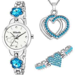 Mikado Women's Day Special Double Heart Jewellery Set For Women's