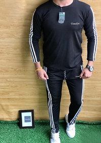 Trendyz Men Polyester Black Striped Full Sleeve Tracksuit (SportsWear)