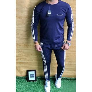 Trendyz Men Polyester Navy Blue Striped Full Sleeve Tracksuit (SportsWear)