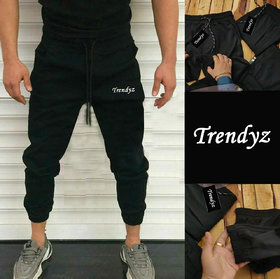 Trendyz Men Black Lycra Stretchable Heavy Stuff Track Pant