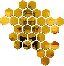 Wall1ders Hexagon Golden (Each Piece Size 12.1 cm x 10.5 cm) 3D Acrylic Stickers, 3D Acrylic Mirror Wall Stickers.