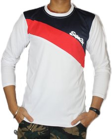 VANTAR White Printed Full Sleeve T-Shirt