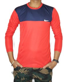 VANTAR Cotton Lycra Red Printed T-Shirt