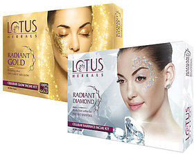 lotus herbals gold and diamond facial kit ( pack of 2) 37g each