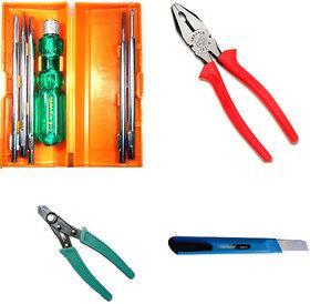 TAPARIA Combination Pliers 210mm Chrome Vanadium Steel/5 in 1 Screw Driver Kit/ Wire Stripper (Set of 3)