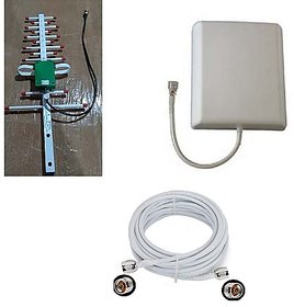 GraspaDeal 16dbi Yagi Antenna  7.5 dbi Patch Panel Antenna with 10 Mtr. N Male to N Male RG-58 Cable for 2G,3G,4G, GSM