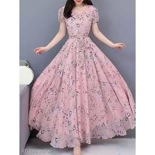 Raabta Fashion Pink Printed Georgette Maxi Dress