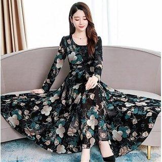Raabta Black 07 Flower Print Long Dress
