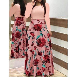 Raabta Peach 0102 Dress With Flower Print Long Dress