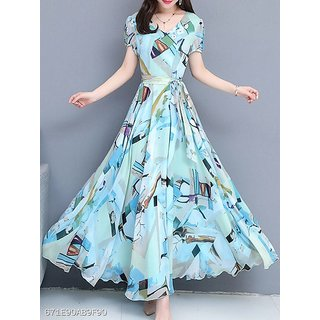 Raabta Sky Blue Graphic Print Long Dress