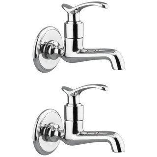 Drizzle Duck Long Body Bib Cock Brass, Bathroom Tap With Quarter Turn (Pack of 2 Pieces)