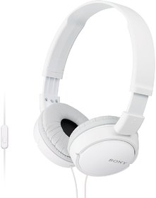 SONY MDR-ZX110AP Stereo Headphones Wired with Mic Headset (White, On the Ear)