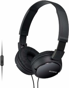 SONY MDR-ZX110AP Stereo Headphones Wired with Mic Headset (Black, On the Ear)