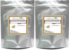 Glowing Buzz 100  Pure Herbal Multani Mitti Powder / Earth Clay / Volcanic Clay Powder (200 g) (Pack of 2)