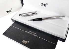 Mont Meisterstuck Solitaire Doue Stainless Steel 163 Black  Silver Rollerball blanc Pen