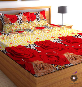 Home Berry microfiber Red 3D Printed 144 TC Double Bed Sheets With 2 Pillow Covers (Red & Beige, 5 X 7 FT)