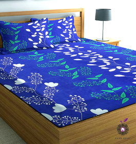 Home Berry microfiber Blue 3D Printed 144 TC Double Bed Sheets With 2 Pillow Covers (White and Blue, 5 X 7 FT)